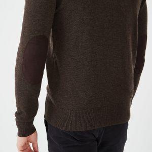 Cardigan zippé marron en laine et coton uni