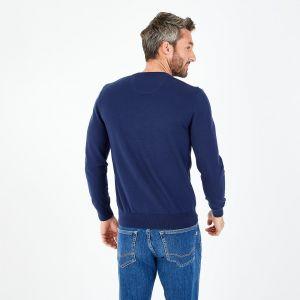 Pull bleu marine à col V en jersey de coton
