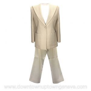 Chanel vintage pant suit in cream padded cotton pin-stripe