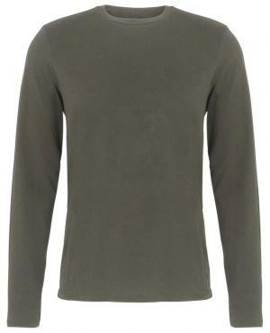 T-shirt col rond à manches longues en coton mélangé