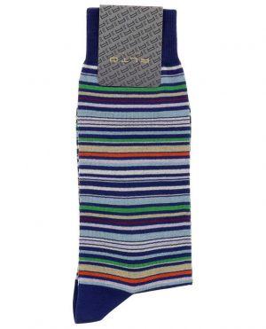 Chaussettes en coton rayé multicolor Genjo Short