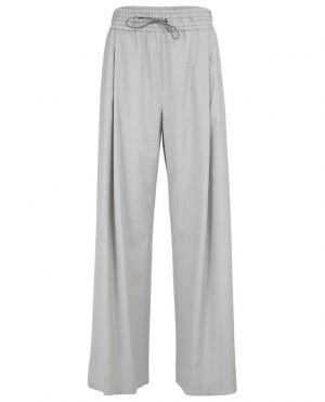 Pantalon large brodé en laine