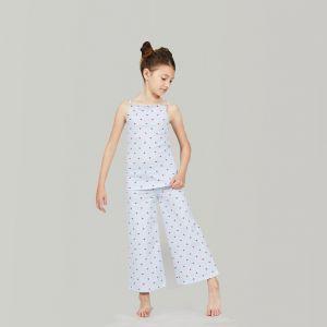 Pyjama enfant long, cuoricino en pur coton pour fille