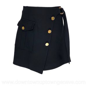 Louis Vuitton wrap skirt in black wool with brass LV buttons