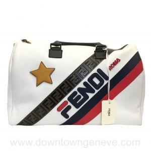 NEW with tags! Fendi Mania travel bag in white leather & monogram