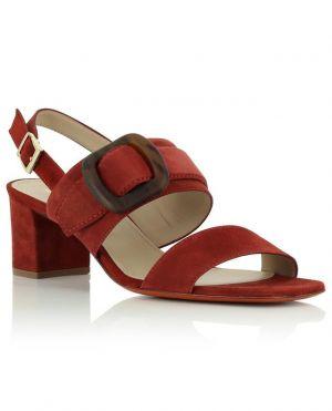 Sandales à talon carré en daim avec boucle