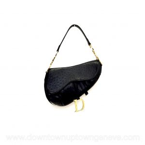 Dior Saddle vintage bag in black ostrich