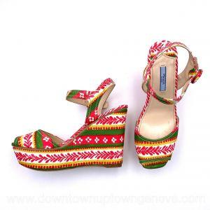 Prada platform wedges in pink & green denim with ankle strap