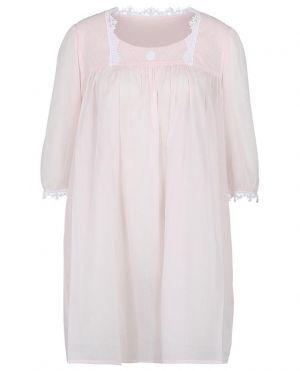 Chemise de nuit en voile de coton et dentelle col U Ariella