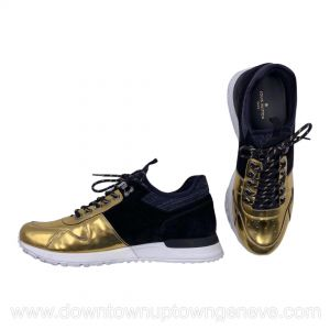 Louis Vuitton Run Away sneakers in black suede and gold patented leather