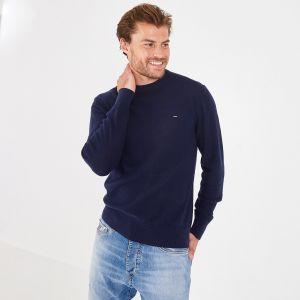 Pull bleu marine à col rond en coton et lin