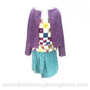 Marni 3 piece skirt suit in purple and turquoise