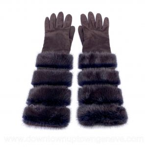 Loro Piana gloves in brown suede & fur*