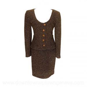 Valentino vintage skirt suit in brown looped wool