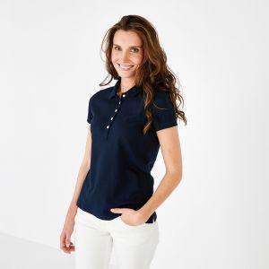 Polo bleu marine en coton stretch