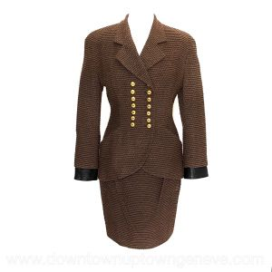 Dior vintage skirt suit in brown boucle wool with brown leather trim