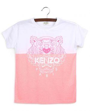 T-shirt en jersey léger rose et blanc Bi-Color Tiger