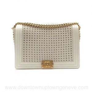 Chanel Boy GM Limited Edition bag in cream woven leather with gold highlight and goldtone chain