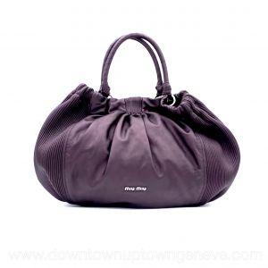 Miu Miu bag in metallic purple pleated leather