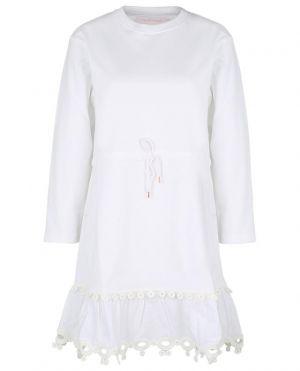 Robe courte en jersey et popeline ornée d'un galon graphique