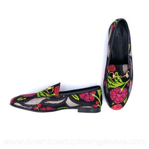 Gucci Jordaan loafers in black & pink flower jacquard embroidery
