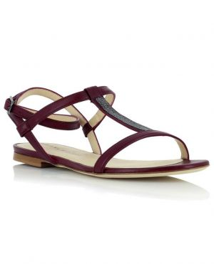 Sandales multi-brides plates en cuir et perles