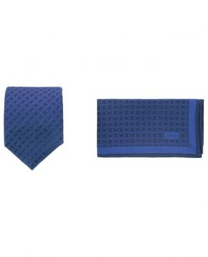 Coffret cravate et pochette à motif logo