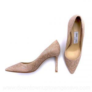 Jimmy Choo heels in dust pink lizard print leather