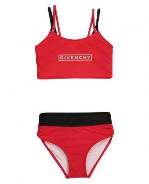 Bikini fille rouge et noir imprimé logo