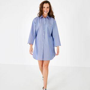 Robe chemise bleue en popeline de coton rayée