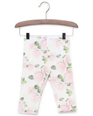 Legging en coton mélangé imprimé roses